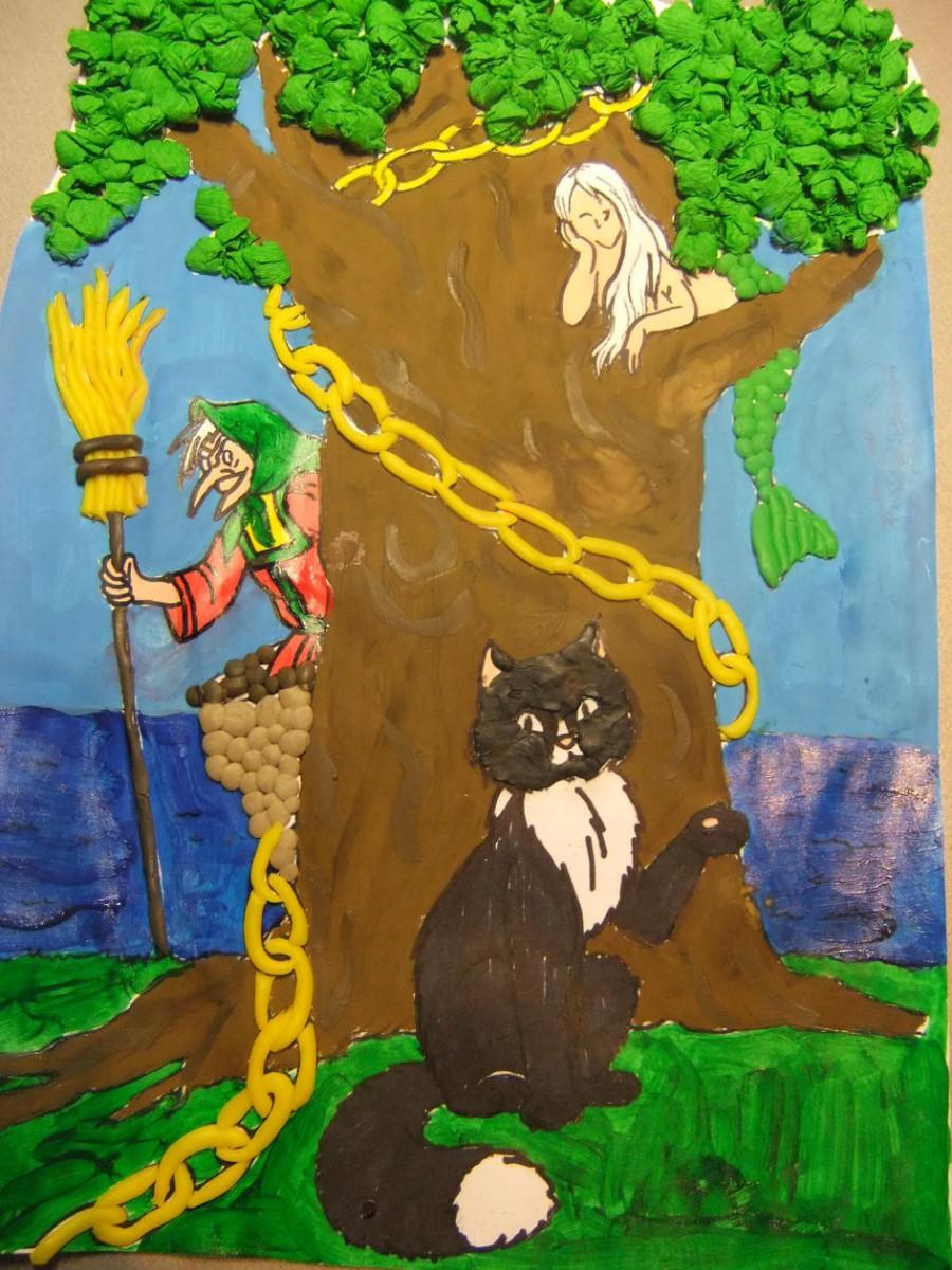 рисунок про лукоморье дуб зеленый появились первые впечатления